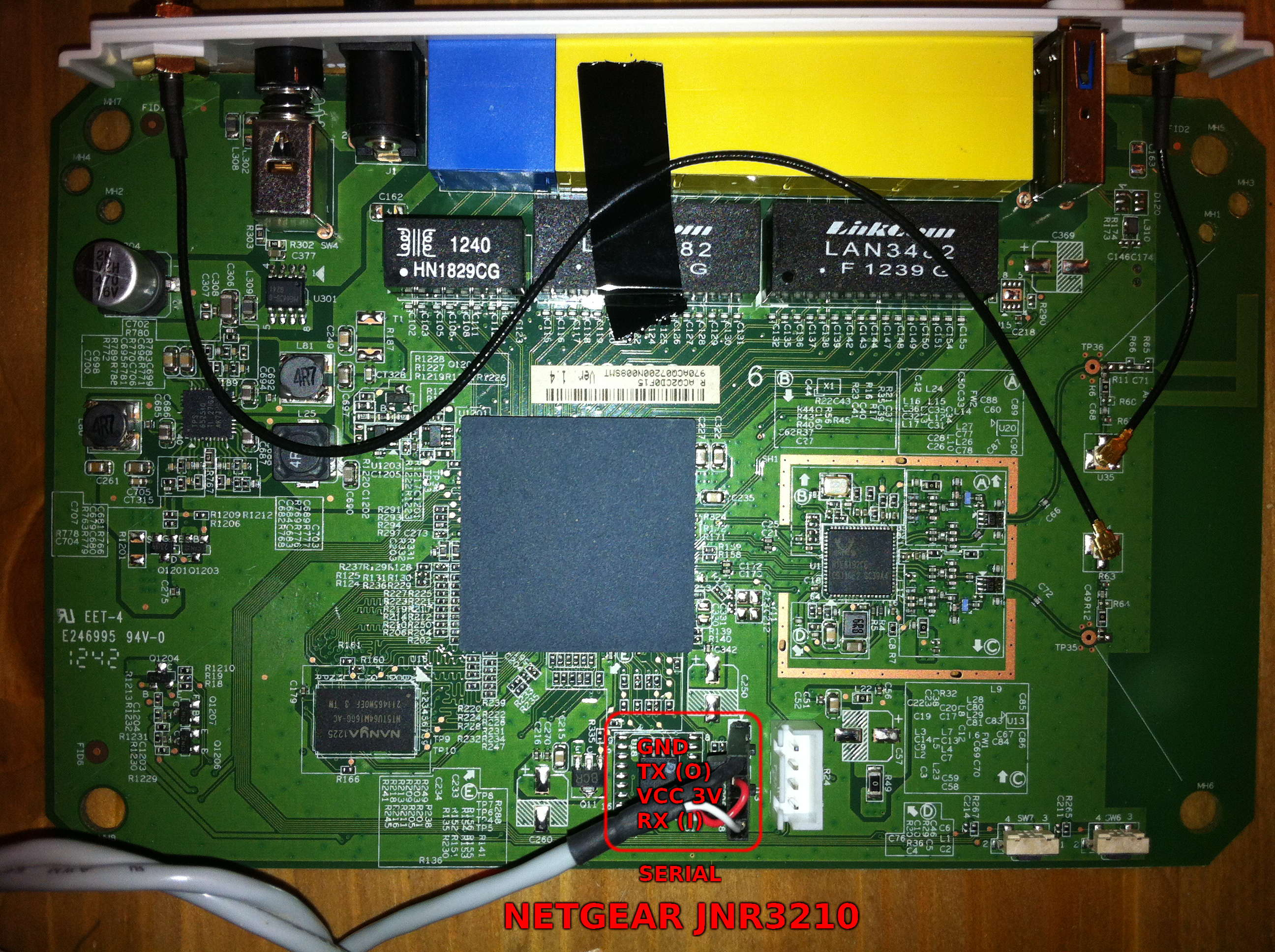 JNR3210 PCB view and serial pinout